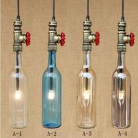 ガラスボトルシェードペンダントランプ屋内照明 G4 照明器具サスペンション LED 電球 220 ボルト