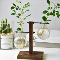 花瓶 ヴィンテージフラワーポット 透明 花瓶 木製フレームガラス 卓上植物ホーム インテリア
