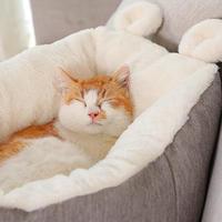 猫のベッド 猫ハウスペット 猫ちゃん、ワンちゃんの快適な冬用のお家 かわいいお耳付き_Mサイズ