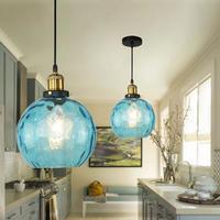 青色ガラスのペンダントライト led E27 ホームデコ北欧ランプ リビングルームやベッドルームに_直径20㎝