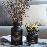 北欧風 シンプルスタイル黒いガラス製 花瓶 リビングルームのテーブルの装飾 おしゃれな装飾の花瓶