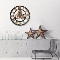 40 ㎝ ヴィンテージ時計 ヨーロッパのレトロな手作り 3D ギア 壁時計 ホームリビングルームの装飾 レトロ カチカチ木材時計