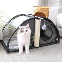 多機能な猫ちゃんのお家 ベッドも爪とぎもおもちゃもある!!半円タイプ