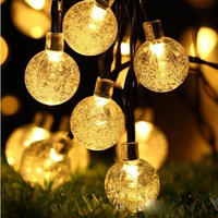 Led ソーラーランプ ランプボール 防水 カラフルな妖精 屋外ソーラーライト ガーデン クリスマスパーティーの装飾 ソーラーストリングライト_6.5m