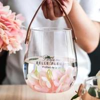 ガラスの花瓶 革ハンドストラップ 花瓶 キャンドルスタンド インテリアとしても◎