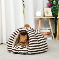 ボーダー柄 猫のベッド 猫ハウスペット 猫ちゃん、ワンちゃんの冬用のドーム型のお家 ボンボン付き♪