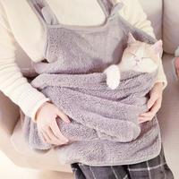 冬暖かい♪猫寝袋エプロン ペットキャリアカンガルーバッグ キティ子猫フリース子犬小型ペットホルダーポーチ