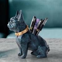 ワンちゃん 樹脂 置物 ペンホルダー デスクオーガナイザー オフィス アクセサリー収納 デスク  鉛筆 ポットデスクペン工芸 ギフトに最適