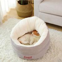 猫のベッド 猫ハウスペット 猫ちゃん、ワンちゃんのふわふわで快適な冬用のお家_Mサイズ