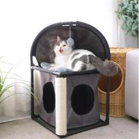 多機能な猫ちゃんのお家 ベッドも爪とぎもおもちゃもある!!縦長タイプ