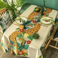テーブルクロス ホームパーティーテーブルカバー 現代芸術 ジャングル ヒョウ柄 防水 カフェなどにも!_100×140cm