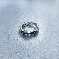 SILVER 925 3stone Ring(black)