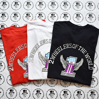 YUF Vintage  2Wheelers  of the worldグラフィックsilk print  Tシャツ