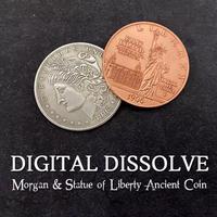 超高品質「ディジタルディソルブ(モルガン&銅貨)」【C0010】Digital Dissolve (Morgan & Statue of Liberty Ancient Coin)