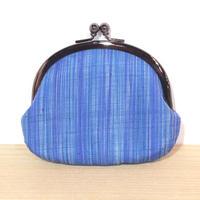 結城紬がま口大縞 ブルー