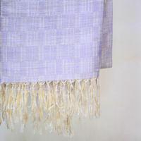 結城紬のショール  育てる 網代 朝東風-あさごち- 55588-4WCWHT 絹100%  日本製