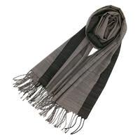 結城紬のショール 広幅  装 しじま 54380-7CHBLK 絹100%  日本製