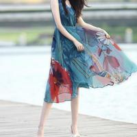 大花柄シフォンワンピース(1色)