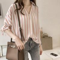 バイカラーストライプVネックシャツ(3色)