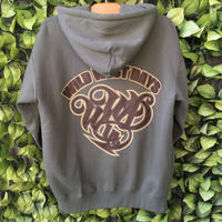 WILDWESTDAYS  zip hood / WWD LA BACKPRINT (Color: olive / brown)