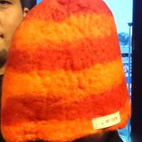 【オルカ宇藤ブランド】サウナハット・レッド&オレンジ(羊毛100%)