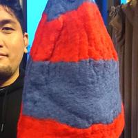 【オルカ宇藤ブランド】サウナハット・赤青1(羊毛100%)