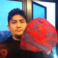 【オルカ宇藤ブランド】サウナハット・レッド&ブルー(羊毛100%)