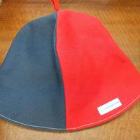 【洗えるサウナハット丈夫な帆布】おふろの国タグ( 赤と紺