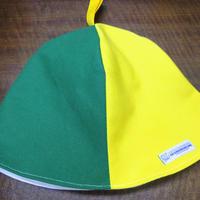 【洗えるサウナハット丈夫な帆布】おふろの国タグ(黄色と緑