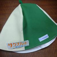【洗えるサウナハット丈夫な帆布】おふろの国タグ( 緑