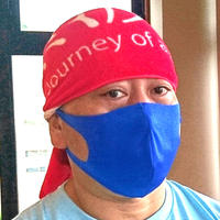 日本製・サラッと夏マスク【青】(普通&大きめ)のびーるだけじゃない。しなやかに軽やかに。青マスク1枚。耳が痛くならず通気性あり洗える。ガーゼやキッチンタオルを挟んでも!