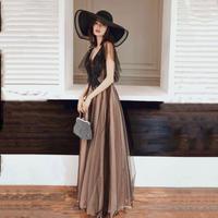 Aライン華やかロング丈上品チュールブラックレースワンピースドレス