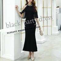 ブラック black ネックビジュー フィッシュテール シフォン ロングドレス