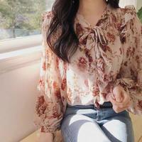 花柄肩フリル刺繍フラワーふんわり長袖ブラウストップス 春色