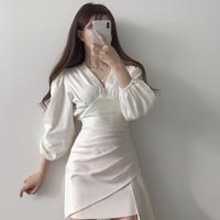 2点セットアップ シフォンシャツ+ミニ丈スカート シースルー 2色
