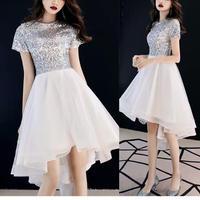 エレガント 半袖 フィッシュテール MIX素材 チュール 結婚式ドレス