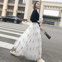 S/S 刺繍ロングAラインオーガンジー透け感スカート 三カラー