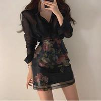 ハイウエスト 花柄刺繍シースルーオーガンジーミニタイトスカート