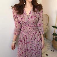 花柄春色マキシワンピースvネックギャザーシャーリングドレス