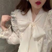 シフォン長袖刺繍レースシャツブラウス