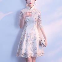 花柄刺繍 ハイネック ドレスワンピース フレア Aライン チャイナドレス風