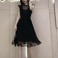 ブラックレースドットドレス