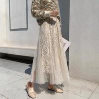 チュール刺繍ロングAラインフレアスカート 上品フェミニンスタイル