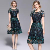 花柄 刺繍 膝丈ドレス シースルー 半袖 Aライン フレア