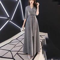 Aライン フレア Vネック 結婚式 ロング丈ドレス キャバドレス