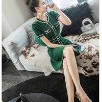 半袖Aラインエレガントグリーンラメ入りドレス