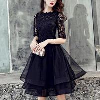 [ NEW ]party-dress black flower 刺繍