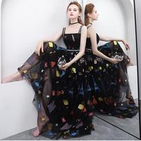 刺繍オーガンジー透け感ロングドレス