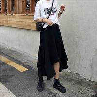 ロング アシンメトリーブラック Aライン スカート casual