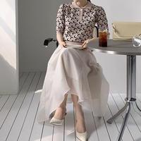 セットアップドレス 半袖サマーニット+ふんわりAラインシフォンロングスカート 二次会